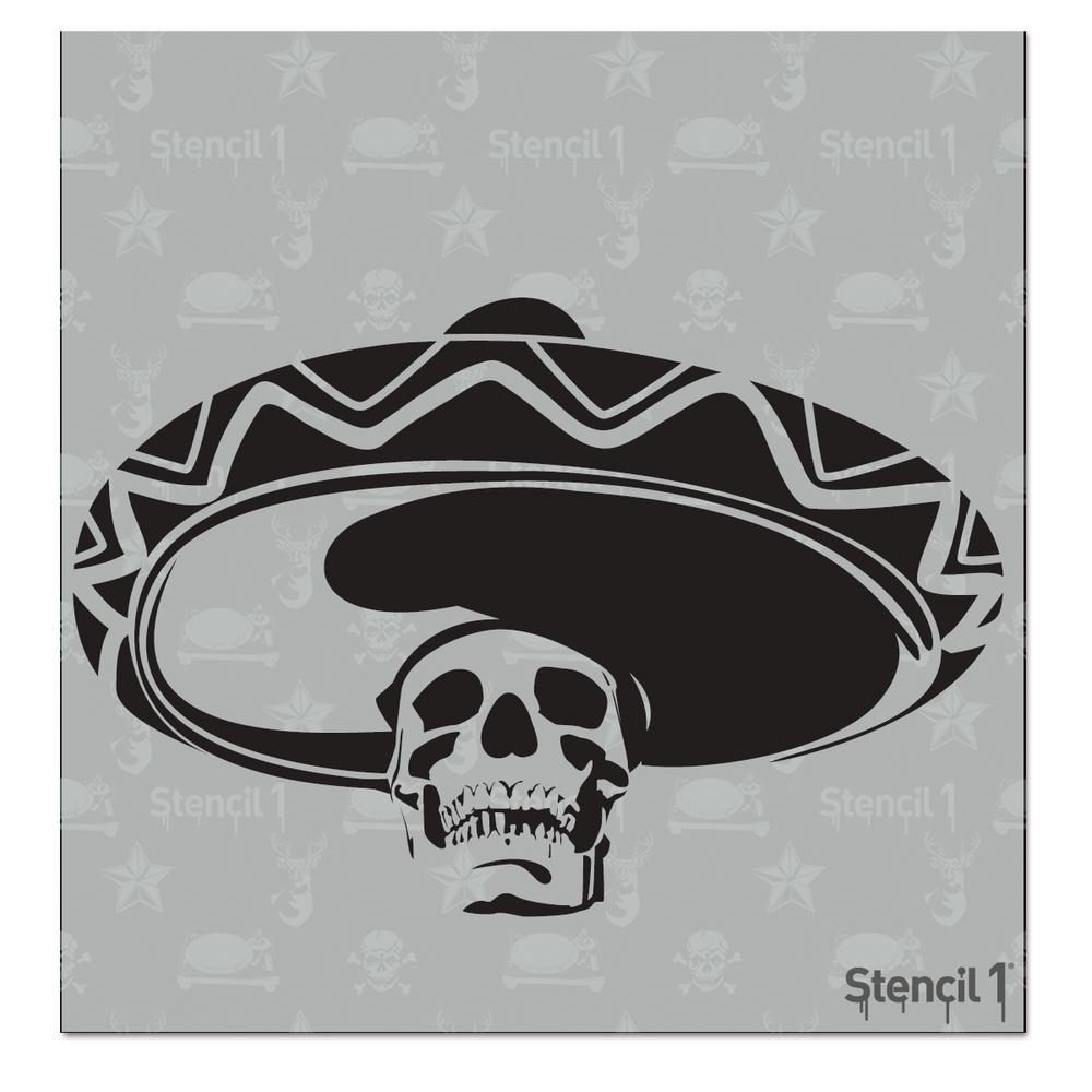 Stencil1 Mexican Skull Sombrero Small