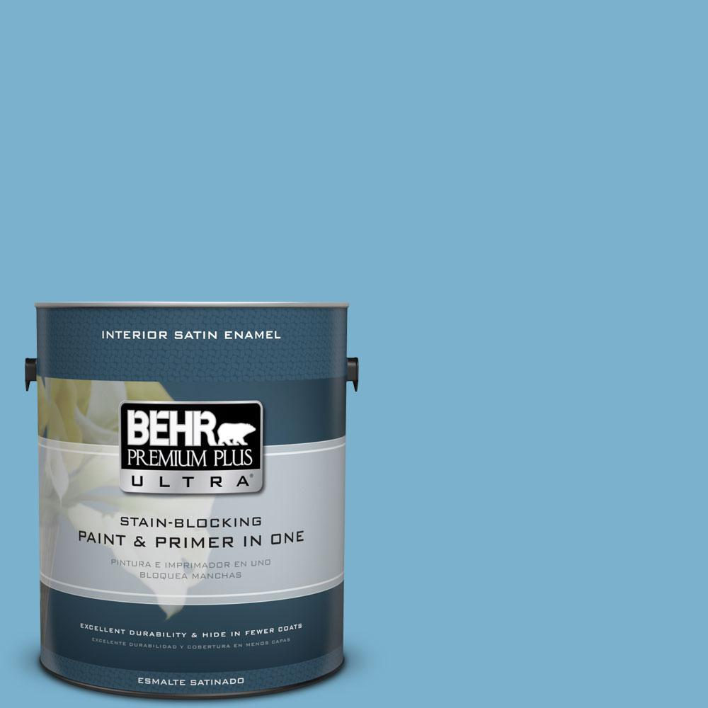 1-gal. #M490-4 Frisky Blue Satin Enamel Interior Paint