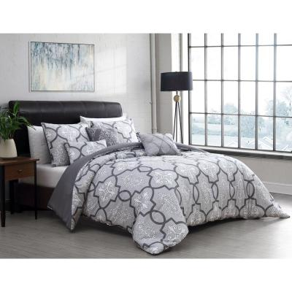 Lawton 5-Piece Gray Twin Size Comforter Set with Throw Pillows