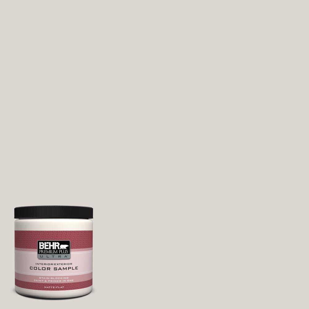 BEHR Premium Plus Ultra 8 oz. #790C-2 Silver Drop Matte Interior/Exterior Paint and Primer in One Sample