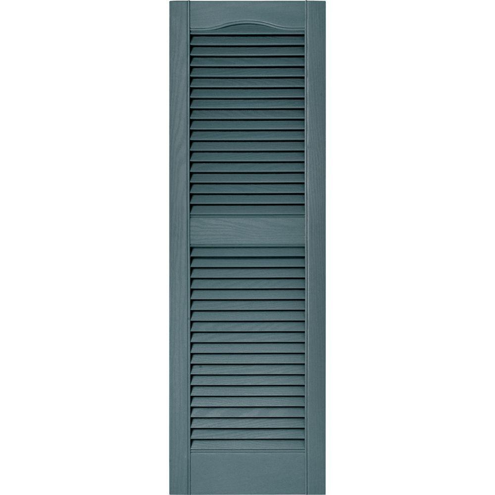 15 in. x 48 in. Louvered Vinyl Exterior Shutters Pair in