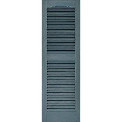 15 in. x 48 in. Louvered Vinyl Exterior Shutters Pair in #004 Wedgewood Blue