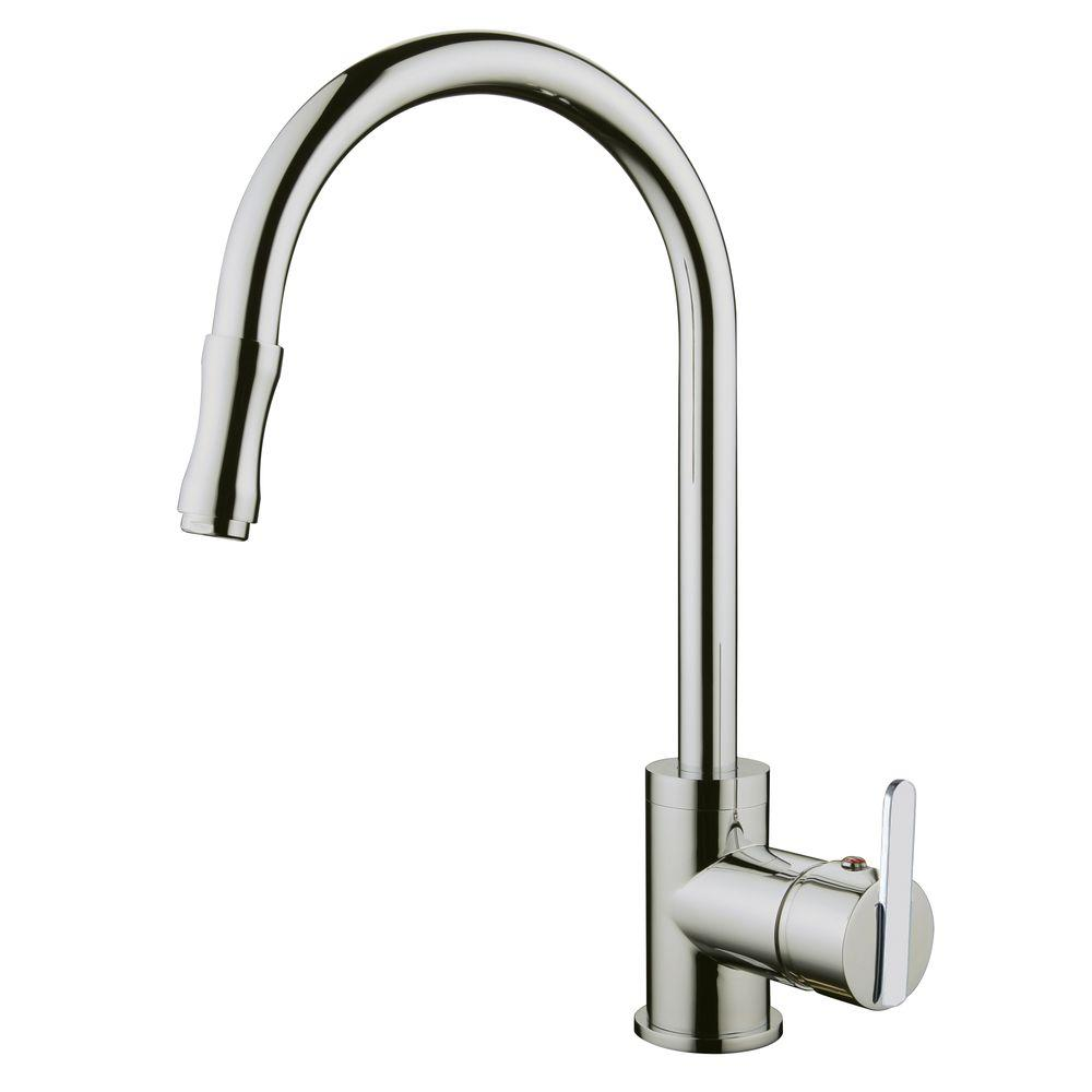 yosemite home decor single handle pull out sprayer kitchen faucet with base plate in brushed. Black Bedroom Furniture Sets. Home Design Ideas