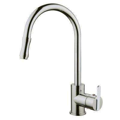 Single-Handle Pull-Out Sprayer Kitchen Faucet with Base Plate in Brushed Nickel