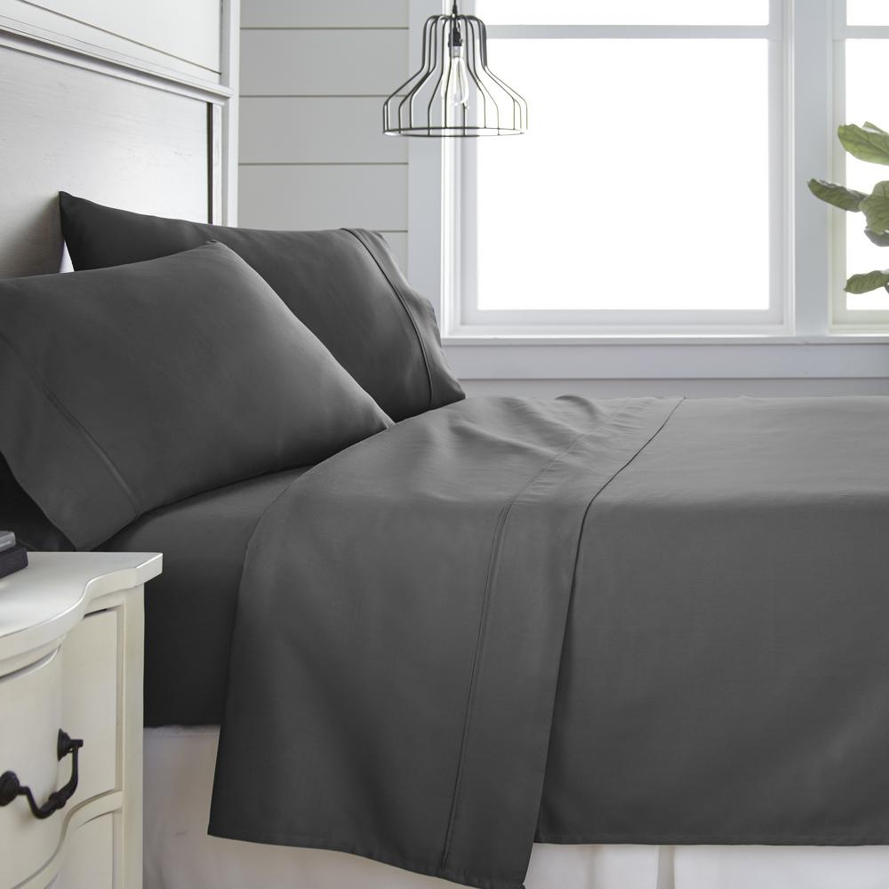 4-Piece Gray 300 Thread Count Cotton Queen Bed Sheet Set