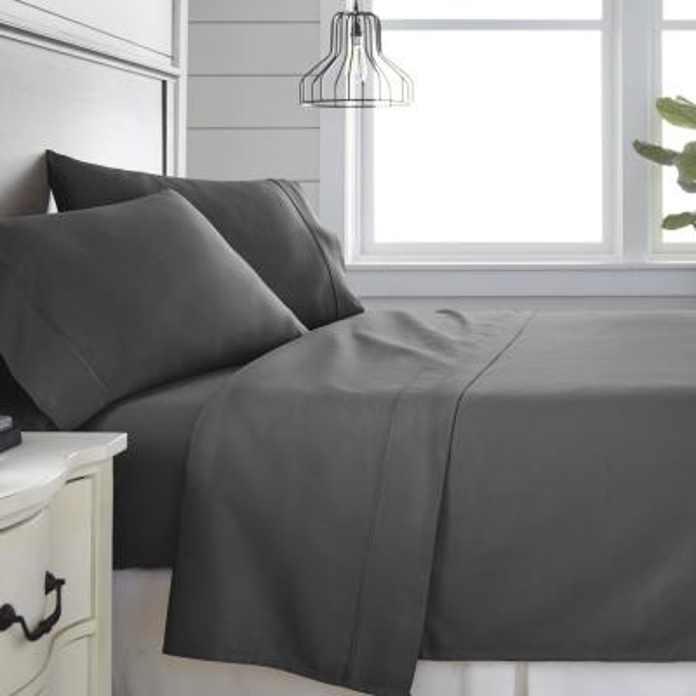 4-Piece Gray 300 Thread Count Cotton Queen Bed Sheet Set