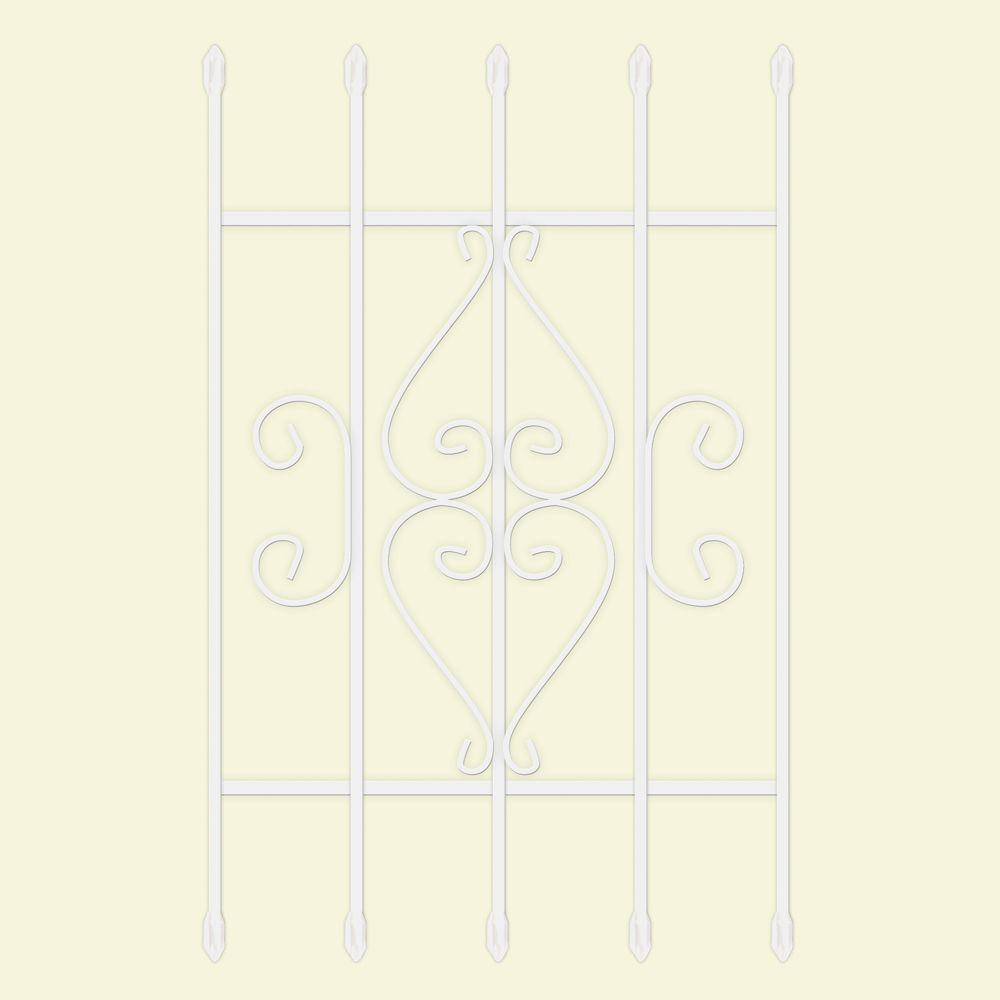 24 in. x 36 in. Su Casa White 5-Bar Window Guard