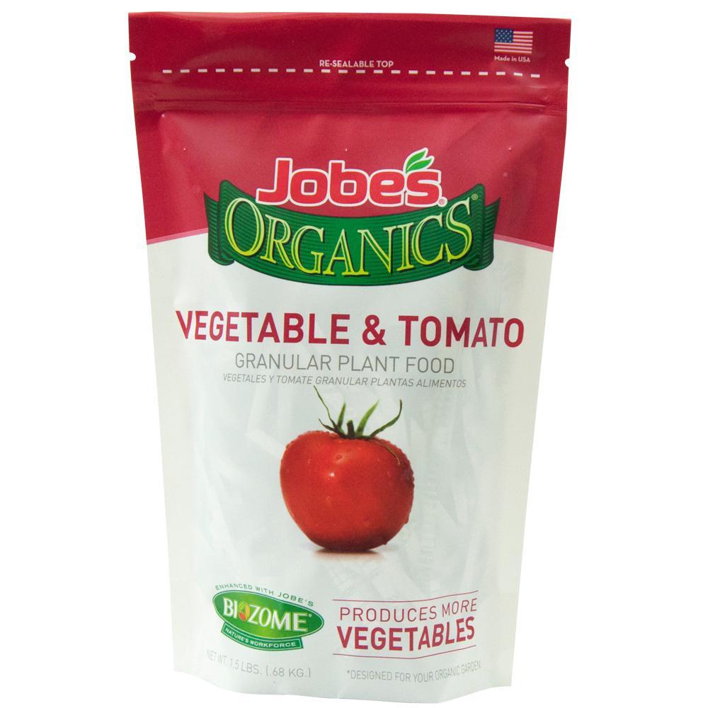 Jobe's Organics 1.5 lb. Organic Granular Vegetable and Tomato Plant Food Fertilizer with Biozome, OMRI Listed