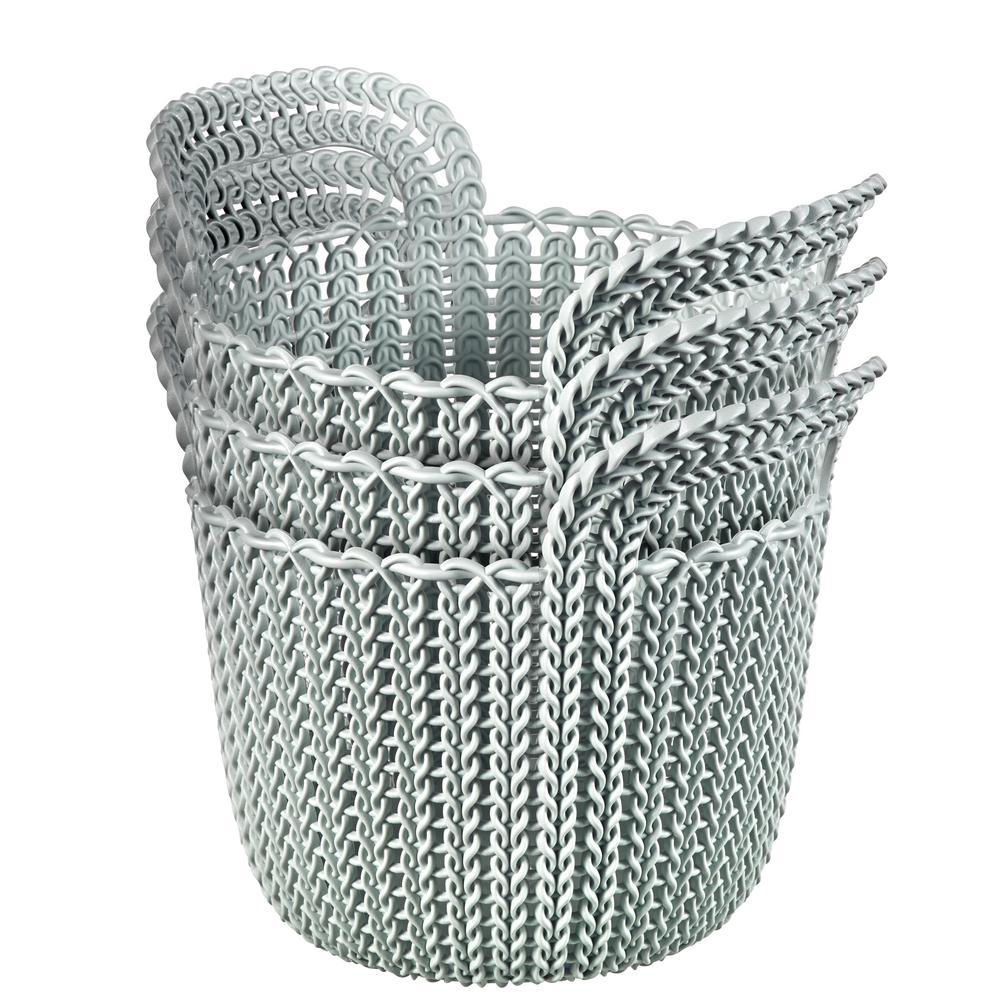 Superb 3.0 Qt. Knit Round X Small Storage Basket Set In Misty Blue (3