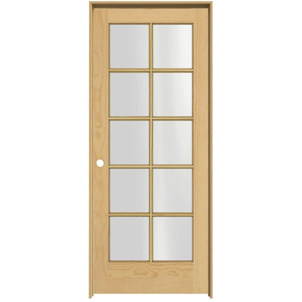 JELD-WEN Woodgrain 10-Lite Unfinished Pine Prehung Interior Door with Pine Jamb-DISCONTINUED