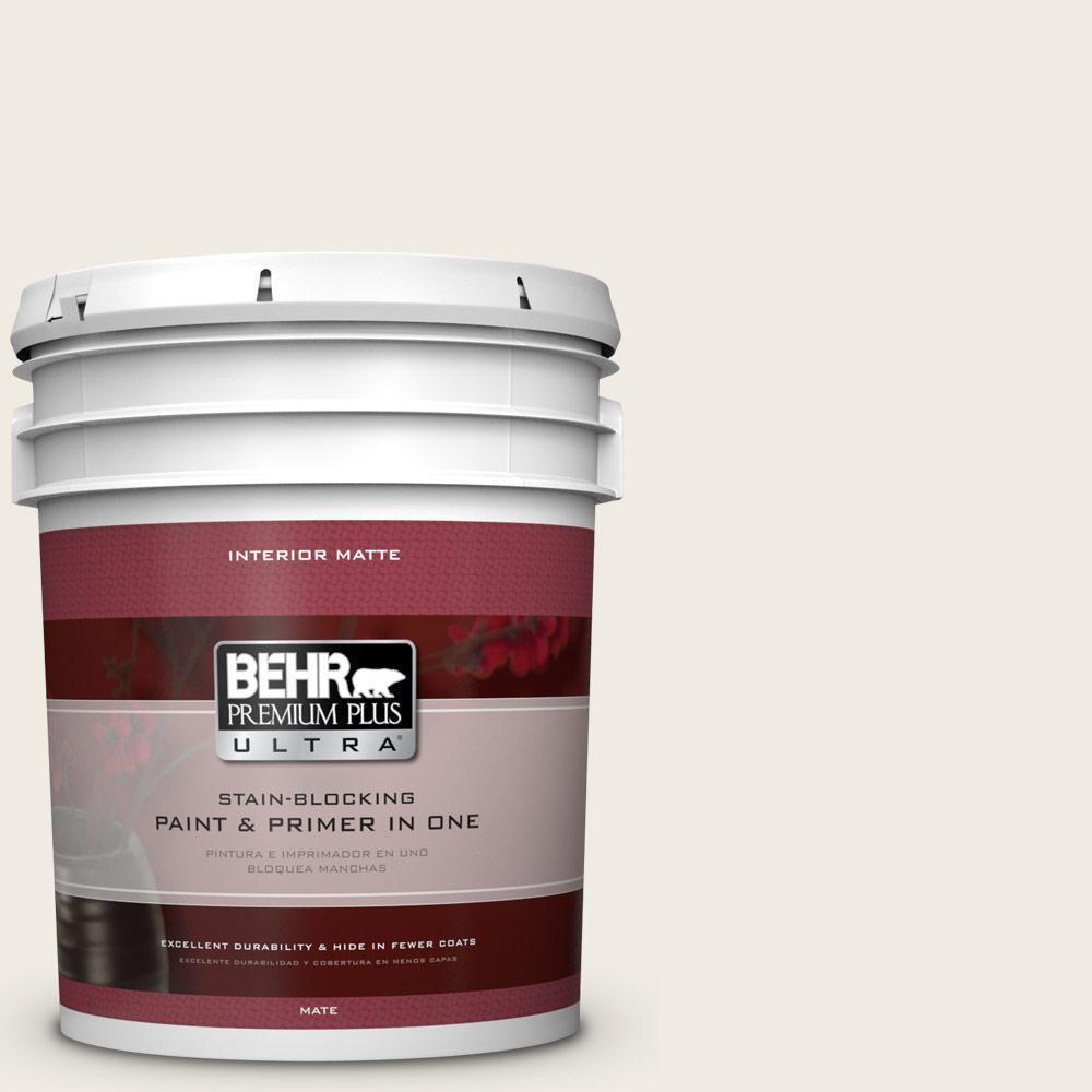 BEHR Premium Plus Ultra 5 gal. #PWN-52 Glamorous White Flat/Matte Interior Paint