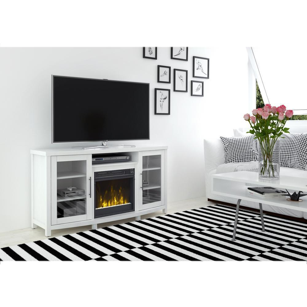 Media Console Electric Fireplace In White