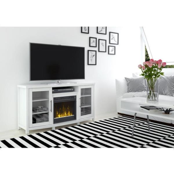 Rossville 54 in. Media Console Electric Fireplace TV Stand in White