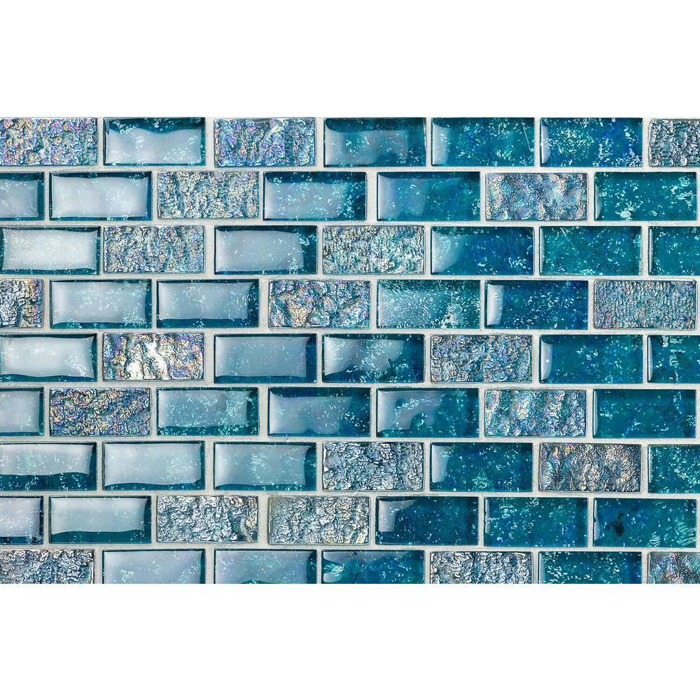 Ivy Hill Tile Marina Iridescent Aqua Brick 11 3/4 in. x 11 3/4 in. 8 mm Glass Mesh-Mounted Mosaic Tile