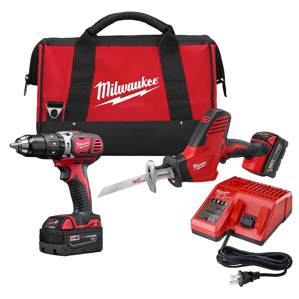 M18 18-Volt Lithium-Ion Cordless Hammer Drill/Hackzall Combo Kit (2-Tool) with