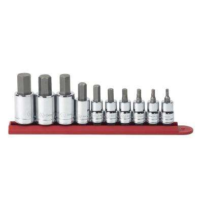 3/8 in. and 1/2 in. Drive SAE Hex Bit Socket Set (10-Piece)