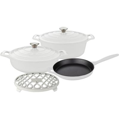 PRO Range 6-Piece Cast Iron Cookware Set in White