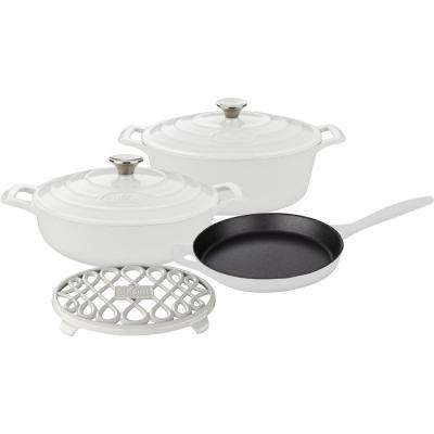 PRO 6-Piece Enameled Cast Iron Cookware Set with Saute, Skillet and Oval Casserole with Trivet in White