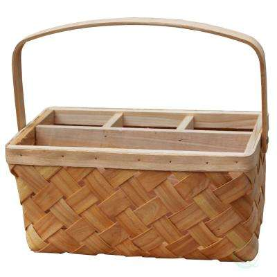 12 in. W x 6 in. x 7 in. H Natural Woodchip Picnic Flatware Serving Caddy Basket