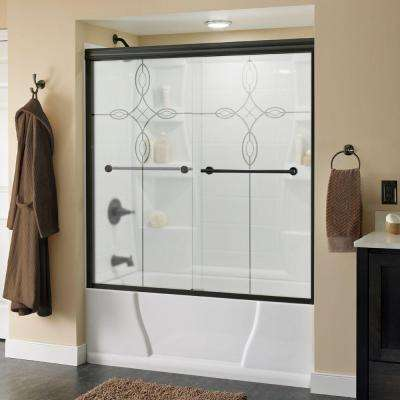 Lyndall 60 in. x 58-1/8 in. Semi-Frameless Sliding Bathtub Door in Bronze with Tranquility Glass