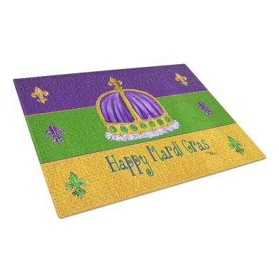 Happy Mardi Gras with Crown Tempered Glass Cutting Board
