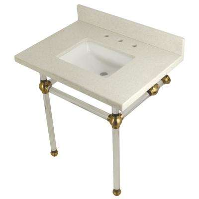 Square-Sink Washstand 30 in. Console Table in White Quartz with Acrylic Legs in Satin Brass