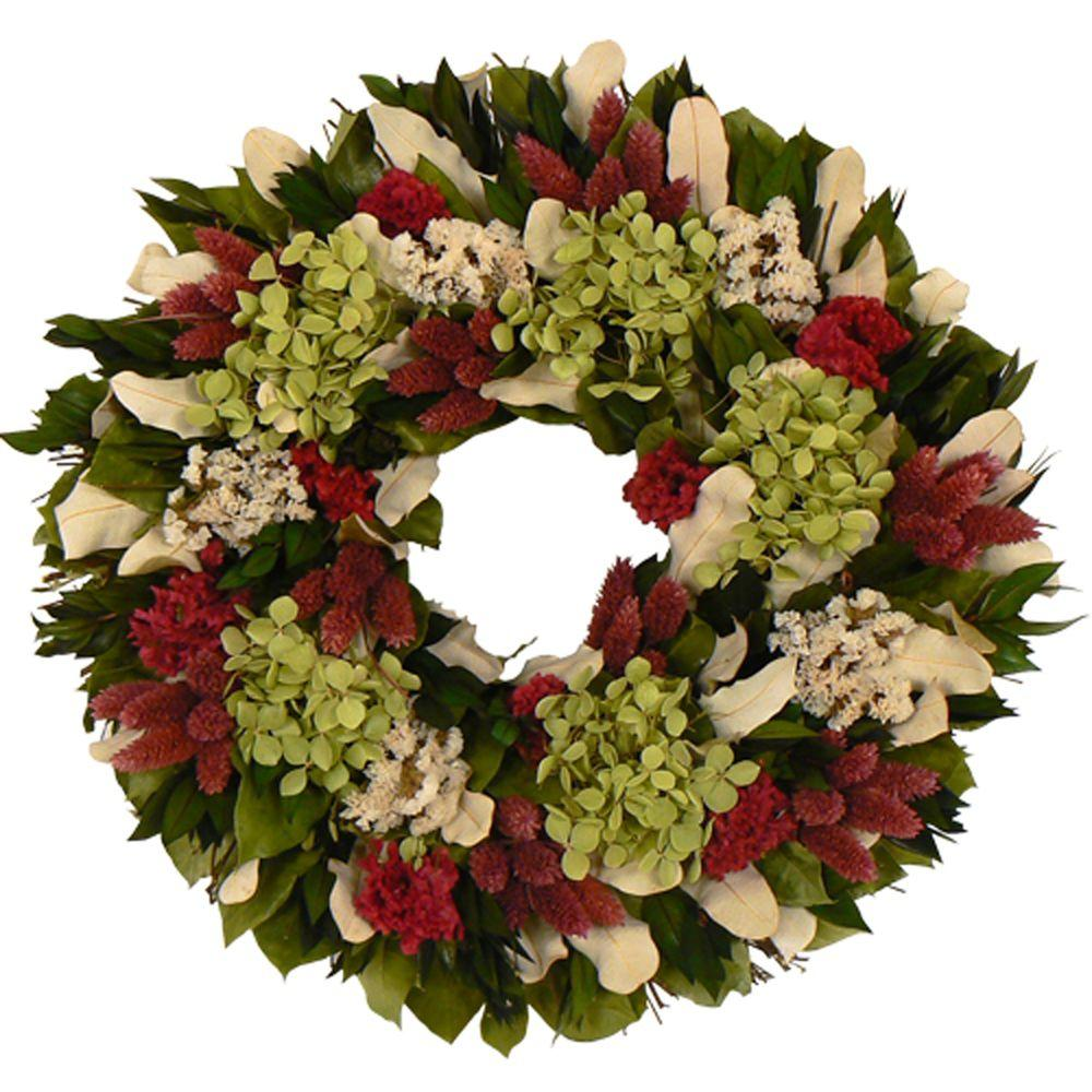 The Christmas Tree Company Ravishing with Raspberry 16 in. Dried Floral Wreath