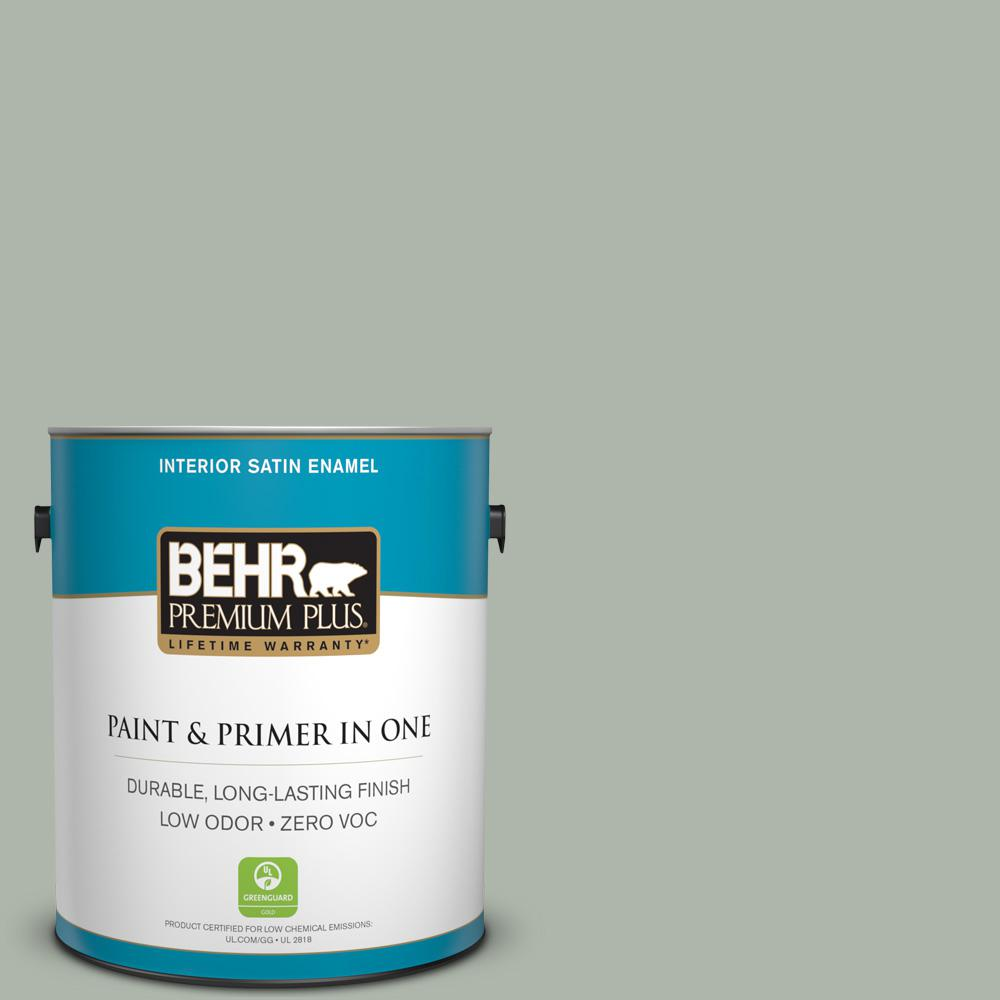 1-gal. #ICC-56 Green Tea Zero VOC Satin Enamel Interior Paint