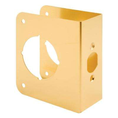 1-3/4 in. x 4-1/2 in. Thick Solid Brass Lock and Door Reinforcer, 2-1/8 in. Single Bore, 2-3/8 in. Backset
