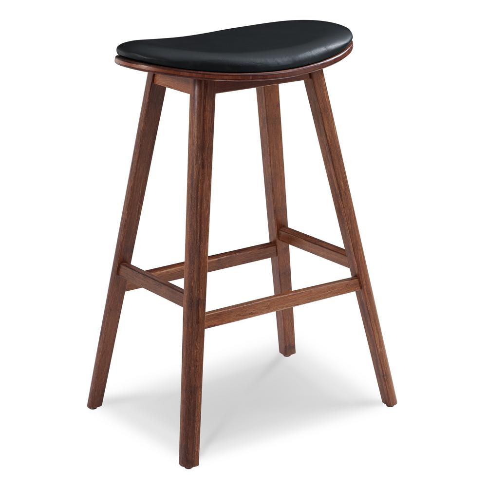 Exotic 100% Solid Bamboo Bar Stool With Top Grain Leather