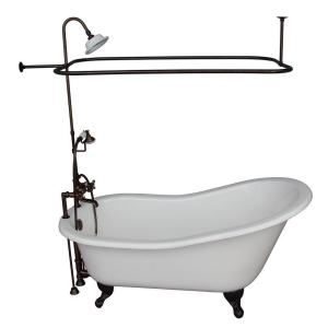 Barclay Products 5 ft. Cast Iron Ball and Claw Feet Slipper Tub in White with Oil Rubbed Bronze Accessories by Barclay Products
