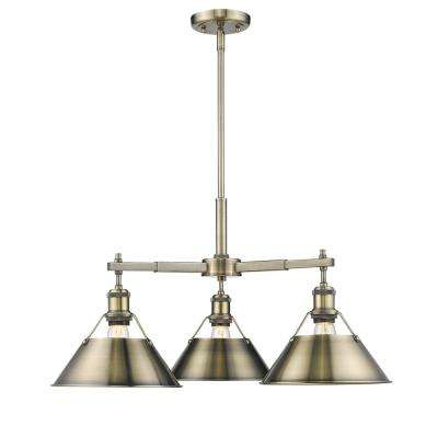 Orwell AB 3-Light Aged Brass Chandelier with Aged Brass Shade