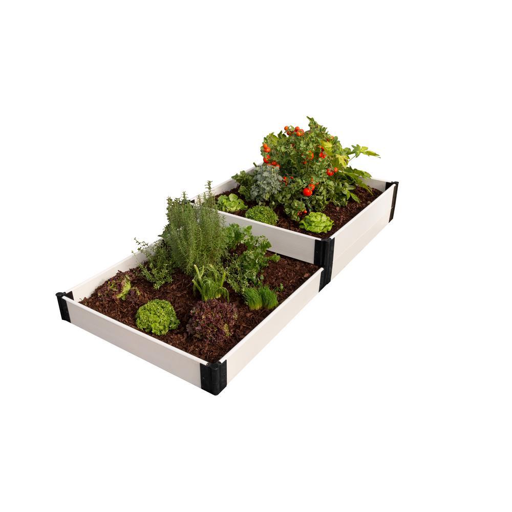 4 ft. x 8 ft. x 8 in. White Composite Terraced Multi-level Raised Garden Bed Kit