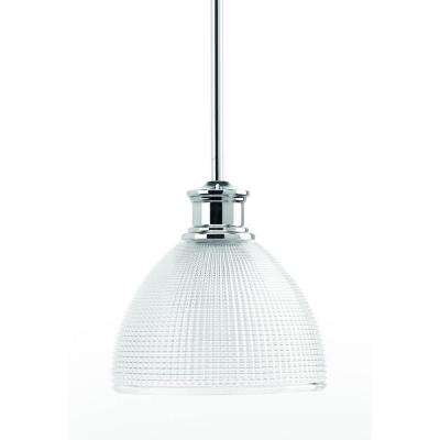 Lucky Collection 8 in. 1-Light Polished Chrome Mini Pendant with Clear Double Prismatic Glass