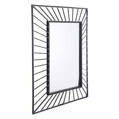 Sunburst Rectangular Black Wall Mirror
