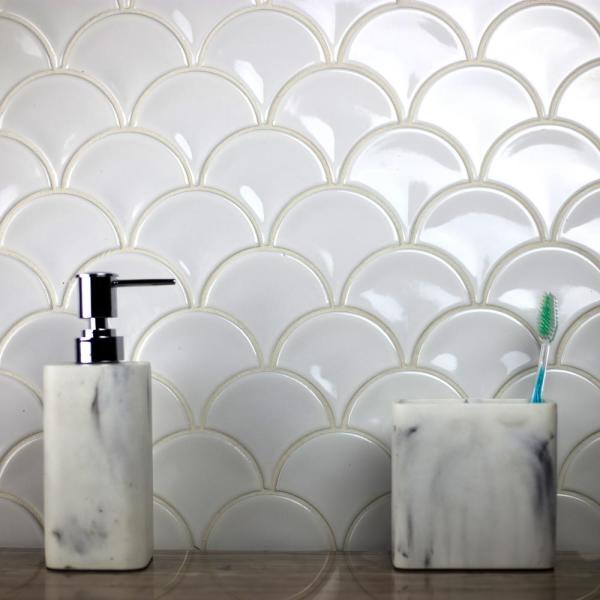 ABOLOS - Monet White Fishscale Mosaic 4 in. x 4 in. Glossy Porcelain Wall Tile (13 Sq.Ft./Case)