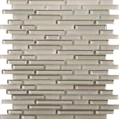 Lucente Morning Fog Gloss/Matte Mix 12.05 in. x 12.05 in. x 8mm Glass Mesh-Mounted Mosaic Tile (1.07 sq. ft.)