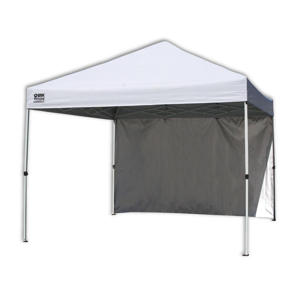 Quik Shade Commercial C100 10 Ft X 10 Ft White Canopy With Wall Panel 157398 The Home Depot