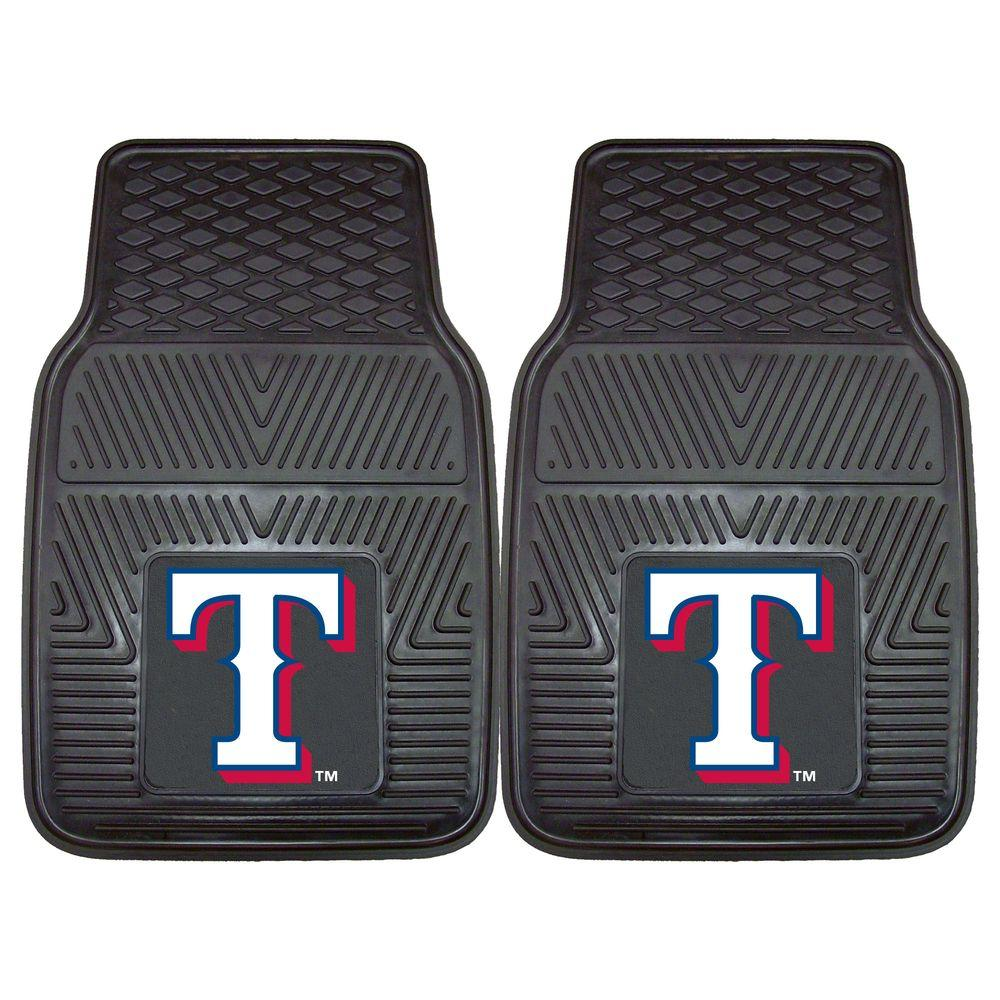FANMATS MLB Texas Rangers Heavy Duty 2-Piece 18 in. x 27 in. Vinyl Car Mat