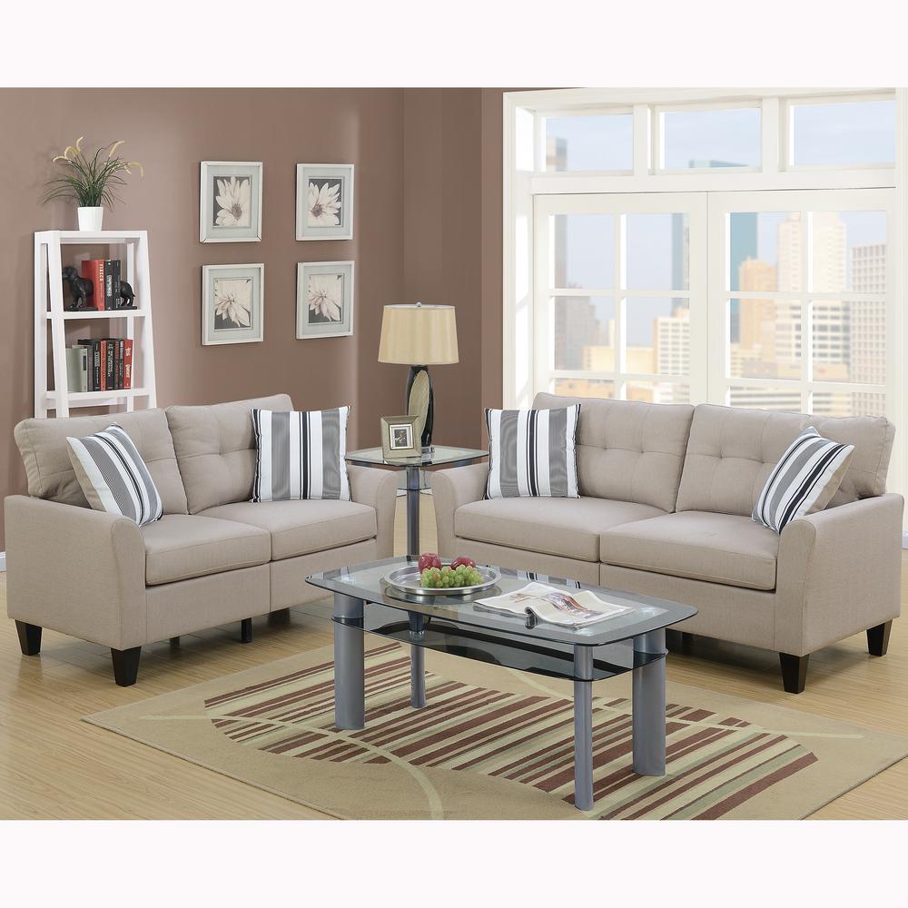 Sardinia 2-Piece Beige Sofa Set
