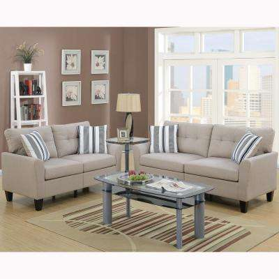 Sardinia 2-Piece Beige Sofa Set