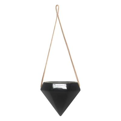 Diamond 4-1/2 in. x 4-1/2 in. Black Ceramic Hanging Planter