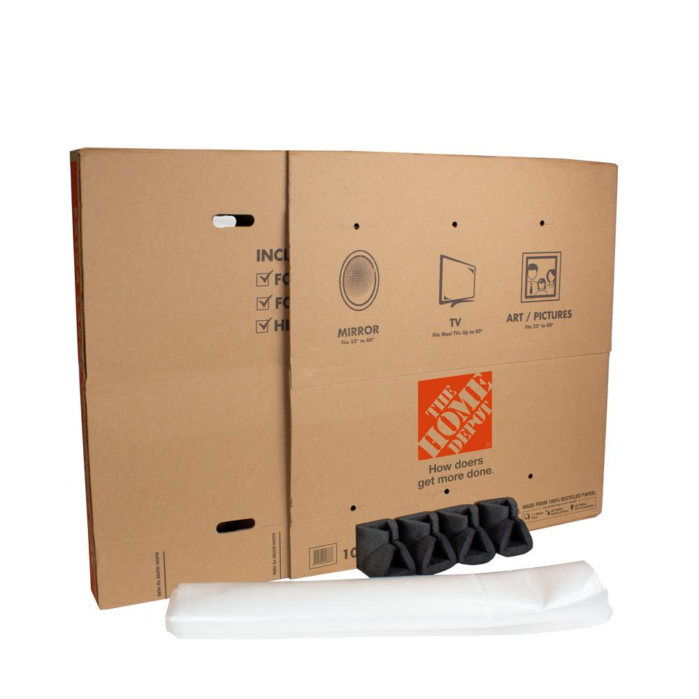 The Home Depot Heavy-Duty Extra-Large Adjustable TV and Picture Moving Box  with Handles-XLTVPICBX - The Home Depot