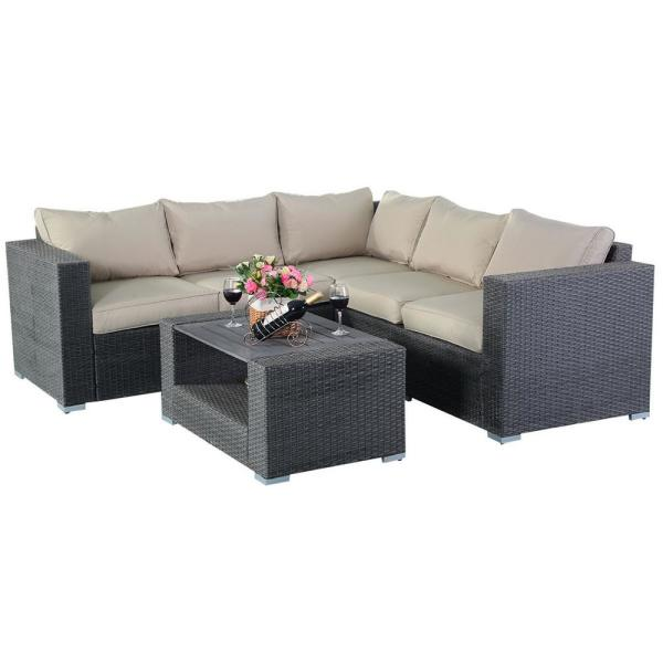 Gray 4-Piece Wicker Patio Conversation Set with CushionGuard Beige Foam Cushions and Coffee Table