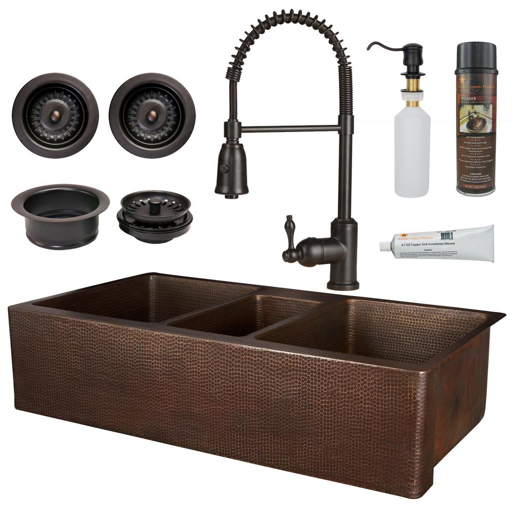 Premier Copper Products All In One Copper 42 In Triple Bowl Kitchen Farmhouse Apron Front Sink With Spring Faucet In Oil Rubbed Bronze Ksp4 Katdb422210 The Home Depot