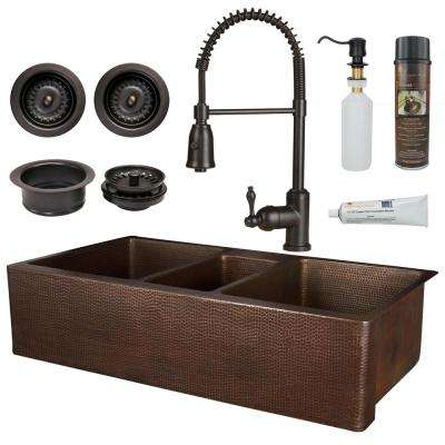 All-in-One Copper 42 in. Triple Bowl Kitchen Farmhouse Apron Front Sink  with Spring Faucet in Oil Rubbed Bronze