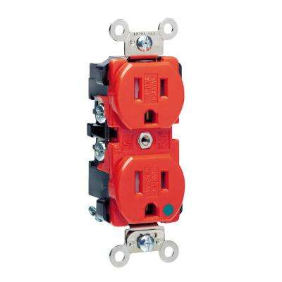 15 Amp Hospital Grade Extra Heavy Duty Tamper Resistant Self Grounding Duplex Outlet, Red