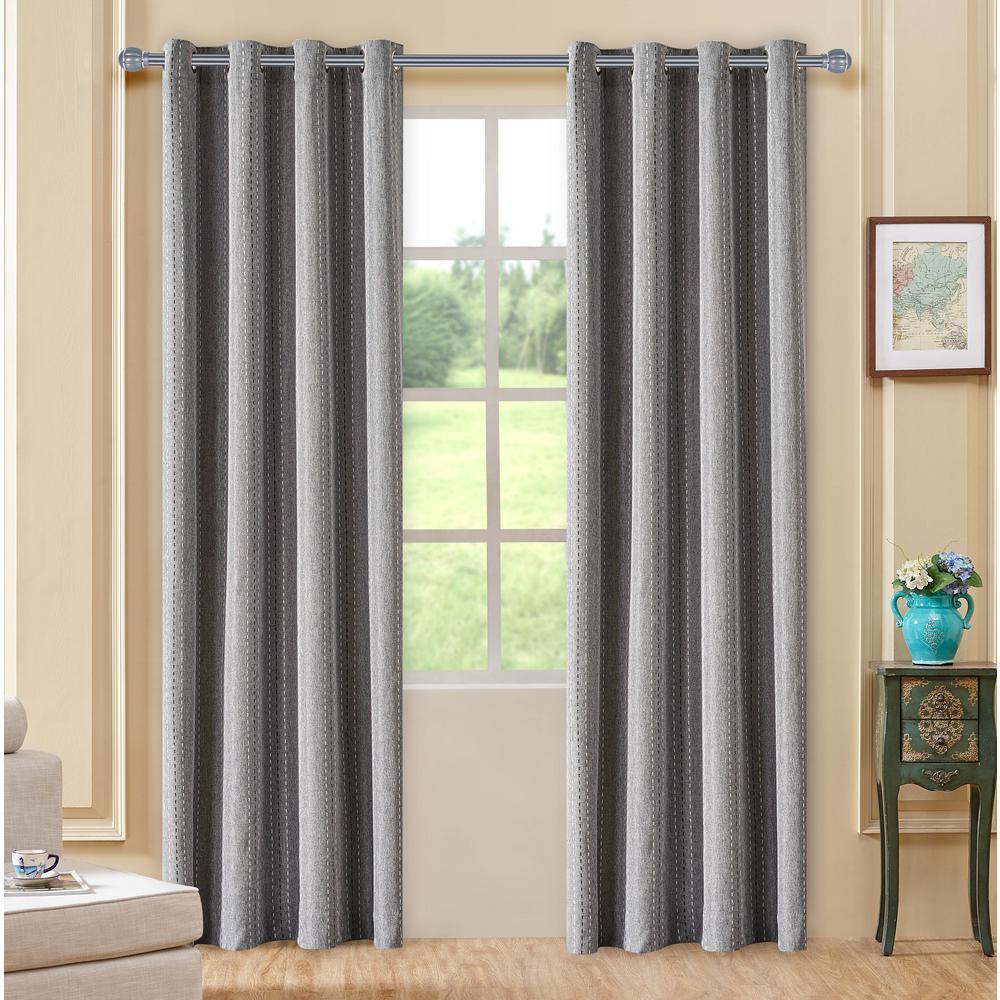 Murano Grey Room-Darkening Polyester Curtain - 84 in. L x 54 in. W
