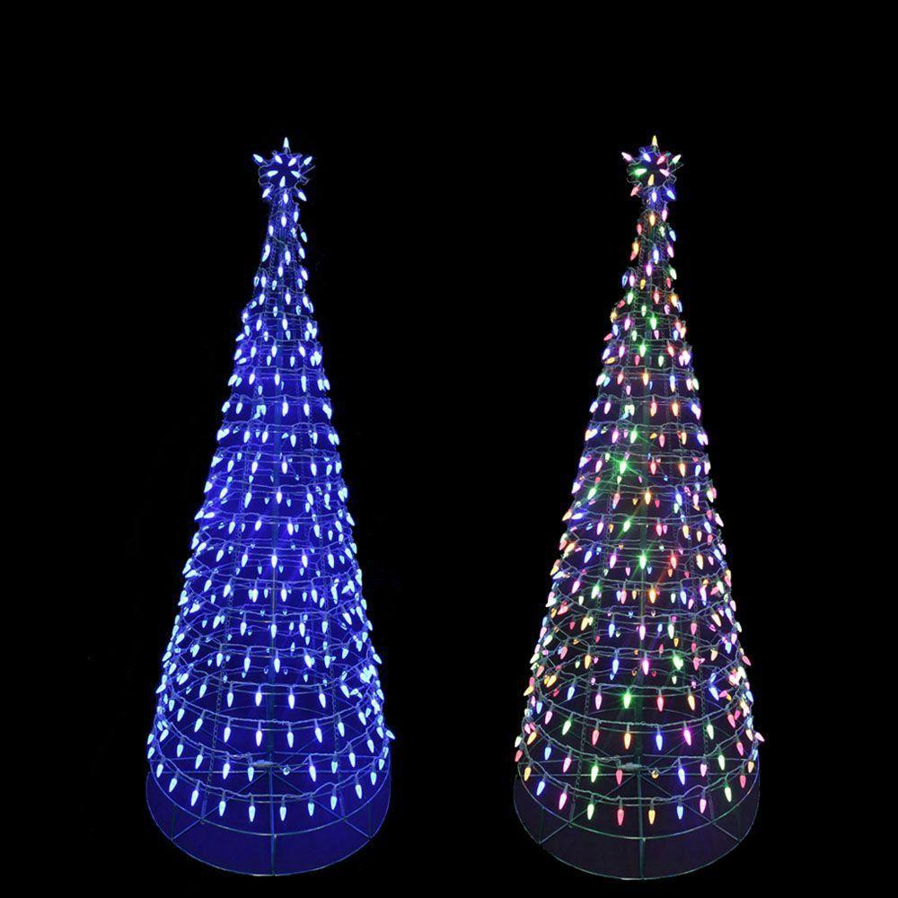 home accents holiday 6 ft pre lit led tree sculpture with star and color - Led Christmas Lights Home Depot