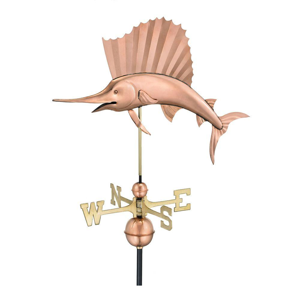 Good Directions Sailfish Weathervane in Polished Copper